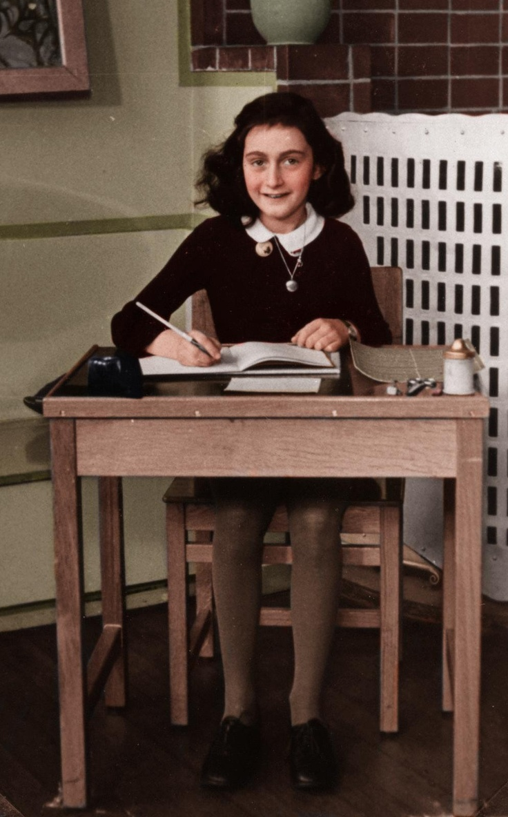 Black and white photo colorized. Anne Frank, 1940