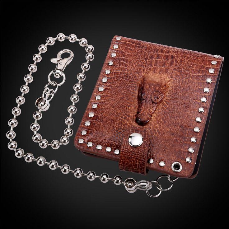 Brown/Black Cool Men Wallet Animal Pattern Rivet Wallet