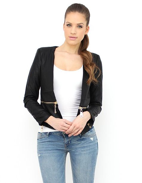 Check out this chic Waist-Zip Faux Leather Jacket. http://famevogue.ro/produse_noi_94/geaca_imitatie_de_piele_cu_fermoar  #shopping #jacket #style #fashion