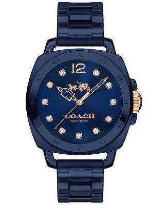 COACH Women's Boyfriend Navy Ceramic Bracelet Watch 34mm 14502502 - Watches - Jewelry & Watches - Macy's