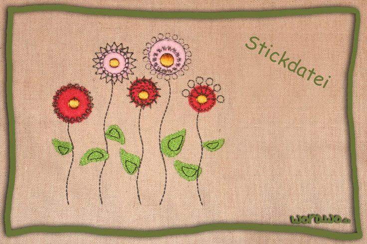 Stickapplikationen - Stickdatei Blumen - ein Designerstück von jumeaux-design bei DaWanda