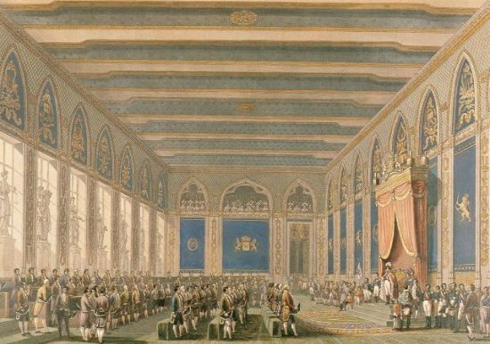 De opening van de Staten Generaal van het Verenigde Koninkrijk der Nederlanden in Brussel in 1815.   Op de troon Willem I.