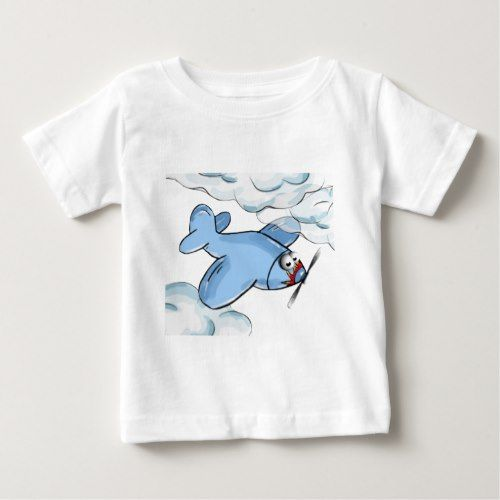 #cartoon plane flying though the clouds baby T-Shirt - #giftideas for #kids #babies #children #gifts #giftidea
