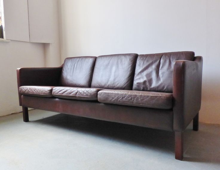 Clic Danish Brown Leather 3 Seater Sofa