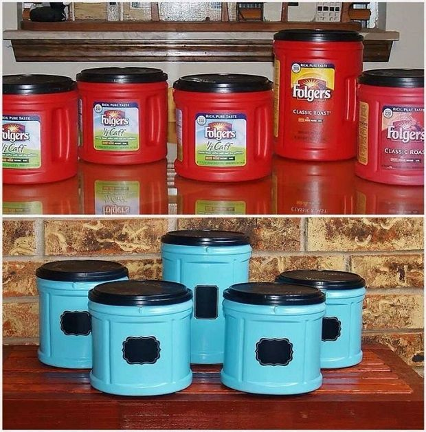 upcycle old coffee containers into plastic storage containers for the kids room or bathroom or for pet stuff paint fun colors and add a label
