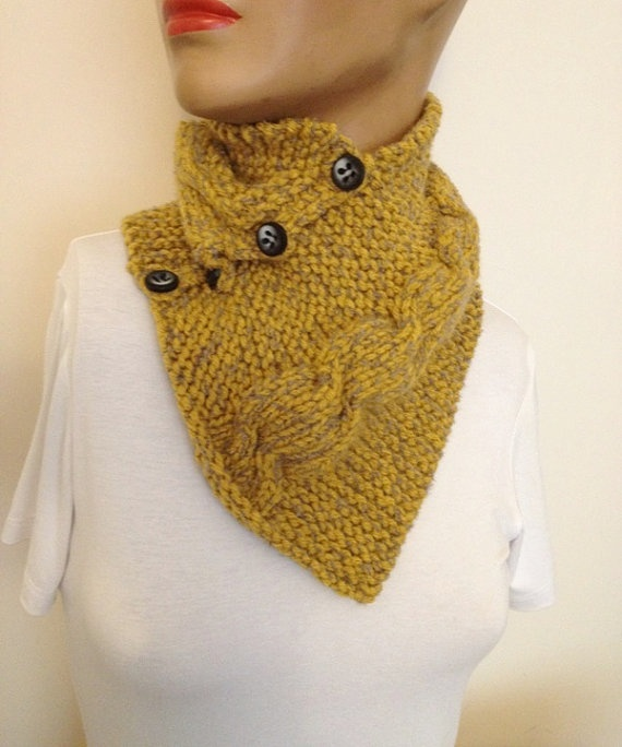 Mustard and Grey  neckwarmers with buttonChunky  by NesrinArt, $24.00