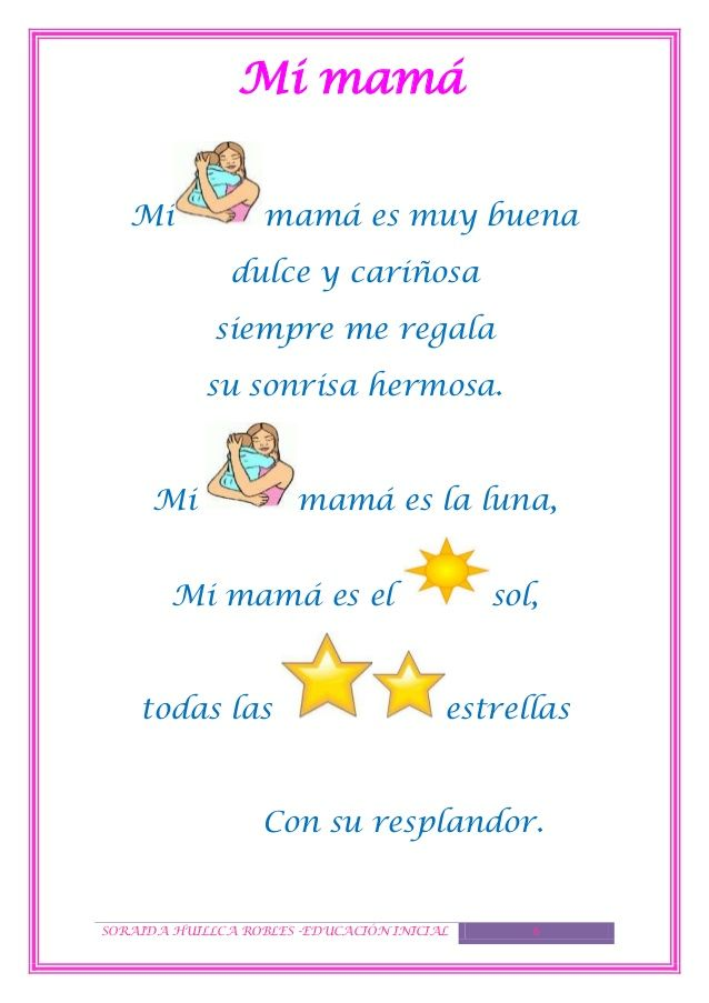 poemas o poesias para mamá de niños de inicial - Buscar con Google