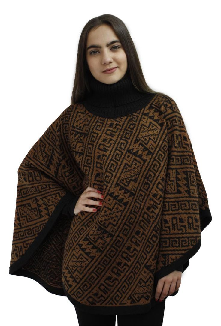 Alpaca Wool Turtleneck Knit Poncho One Size Black & Copper for just US$ 49.99 →