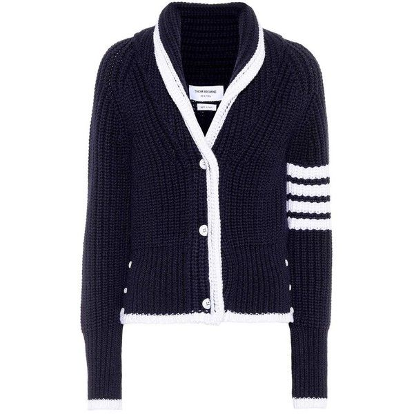 Thom Browne Wool Cardigan (3.045 RON) ❤ liked on Polyvore featuring tops, cardigans, blue, knitwear, blue top, cardigan top, thom browne, navy cardigans and woolen tops