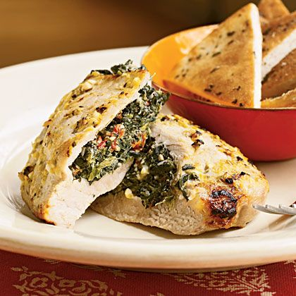 Pork Chops Stuffed with Feta and Spinach Recipe | MyRecipes