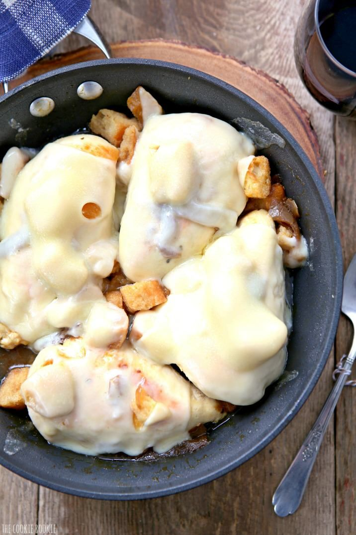 Skillet French Onion Chicken! Easy go-to dinner idea, SO DELICIOUS! Made in one pan in under 20 minutes! Cheesy and delicious skillet chicken!   The Cookie Rookie