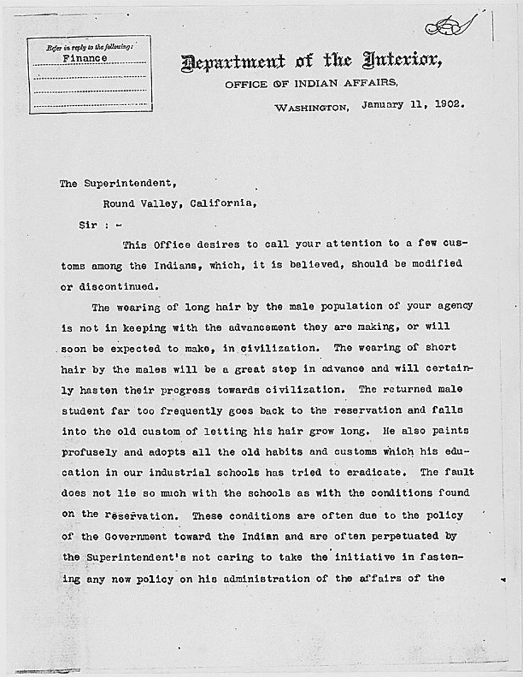 """Commissioner of Indian Affairs William Atkinson Jones sent this letter to superintendents of all federal reservations and agencies in January 1902. The notorious missive soon became known as the """"haircut order."""""""