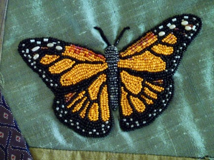 beautiful beaded monarch -- with tutorial for bead embroidery from an image!