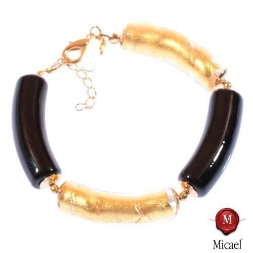 "Bracelet Murano Glass ""Lea"" black-gold Micael. $51.90"