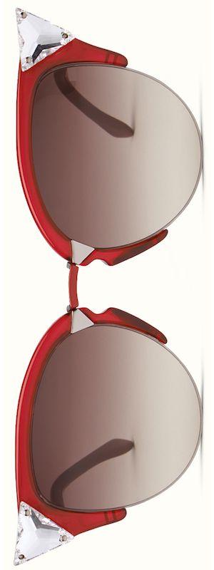 Fendi Iridia Cat-Eye Crystal-Tip Sunglasses, Red LOLO