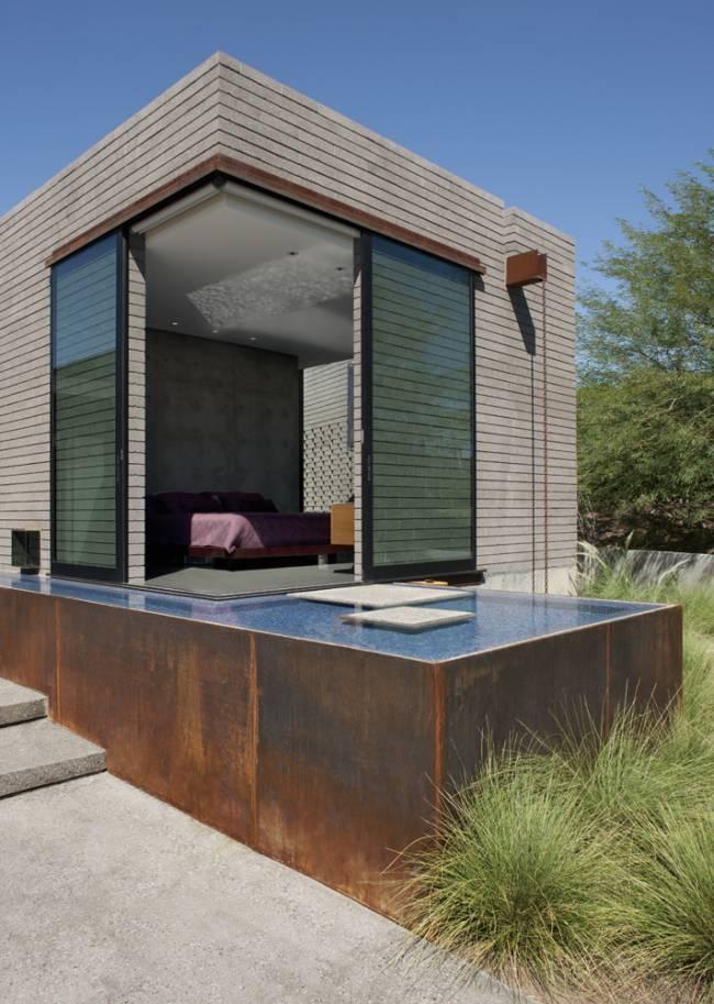The Yerger Residence, Phoenix, Arizona.   master bed and koi pond