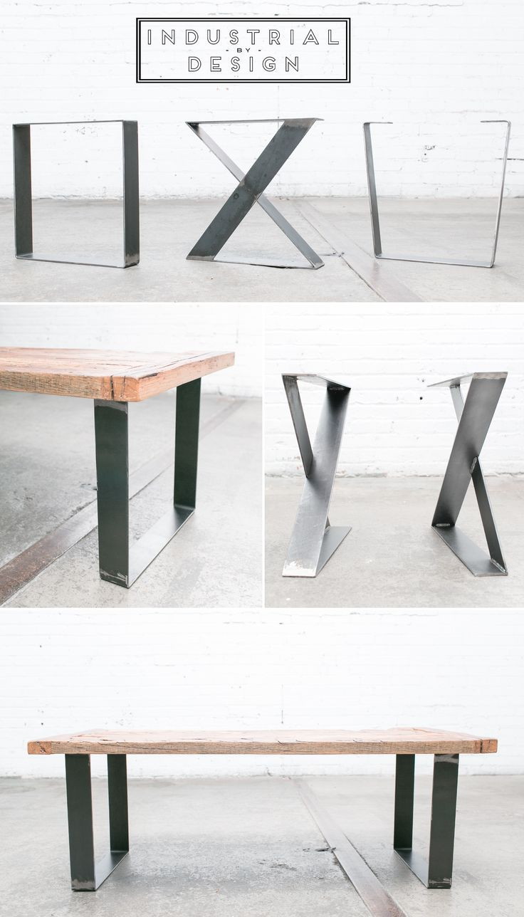 "16"" Square, X-Style, & Trapezoid DIY Modern Frame Legs (Raw Steel) ▫ Set of 2 Industrial Strength Table Legs ▫ DIY Bench Legs, Coffee Table Legs, Etc."