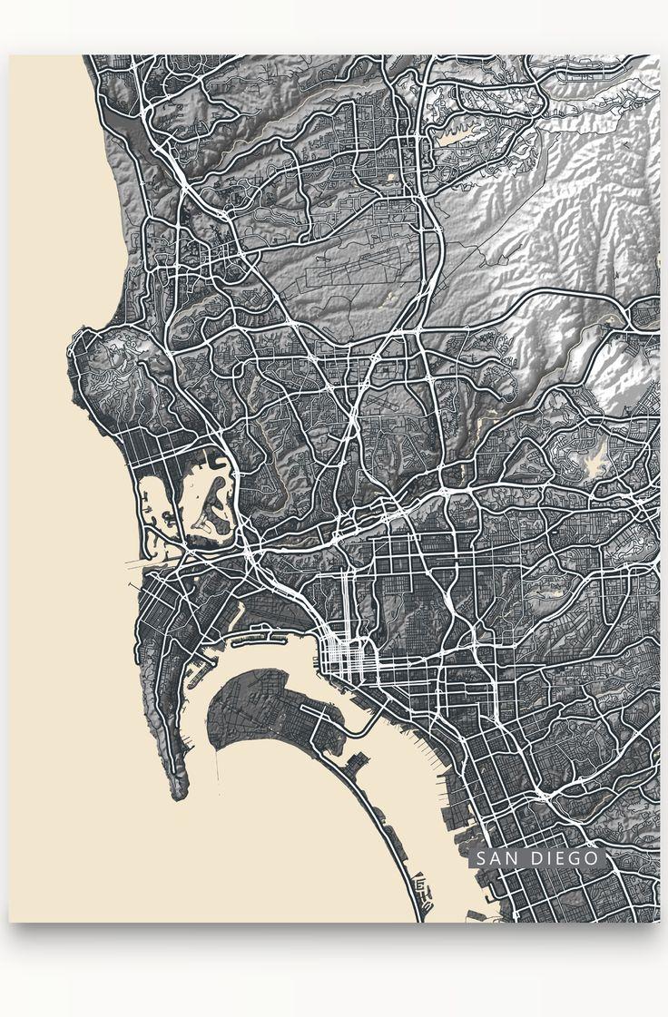 San Diego Map Print Vintage Look Black