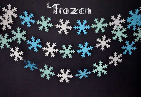 Disney Frozen garland!! Great for any party!   Snowflake Garland-Frozen Garland-Mint by MilestonesandPebbles