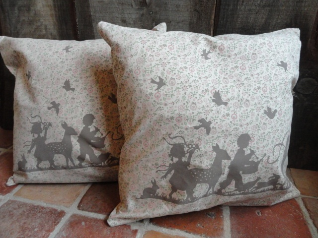"Beautiful cushion covers (without filling) ""Forest Fairy Tale"" by Claire and Eef. In colors Brown and rose!  50 x 50 cm."