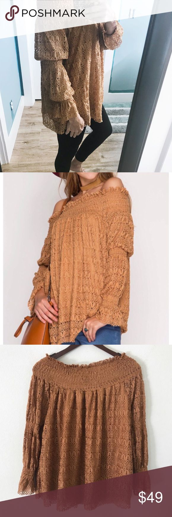 "paytra >> off shoulder lace smocking top << paytra >>  Long sleeve OTS lace top with smocking detail   🌿color: CAMEL 🌿shell: 75% cotton, 25% polyester 🌿lining: 100% cotton 🌿approx measurements:        • bust across:              -small: 18""             -med: 19""             -large: 20""        •length:             -small: 24""             -med: 24""             -large: 24"" 🌿price is firm; add to bundle for 10% discount. Tops Blouses"