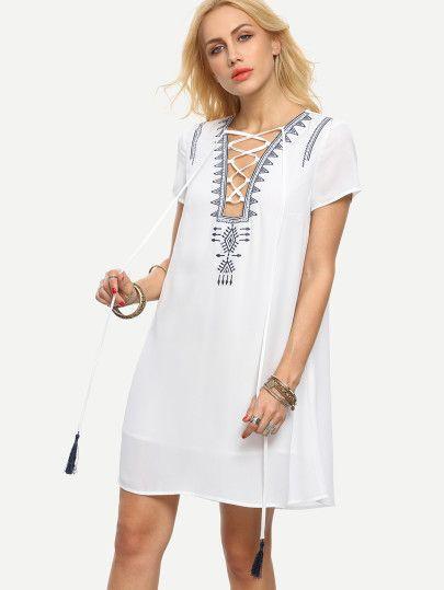 White Lace-up Short Sleeve Shift Dress