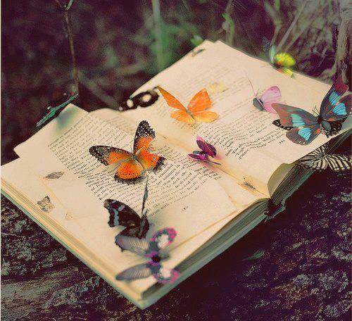 Mariposas de colores que acompañan la lectura en un aleteo especial de romántica locura. CPM.