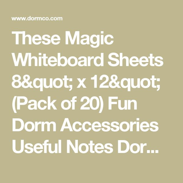 "These Magic Whiteboard Sheets 8"" x 12"" (Pack of 20) Fun Dorm Accessories Useful Notes Dorm Living"