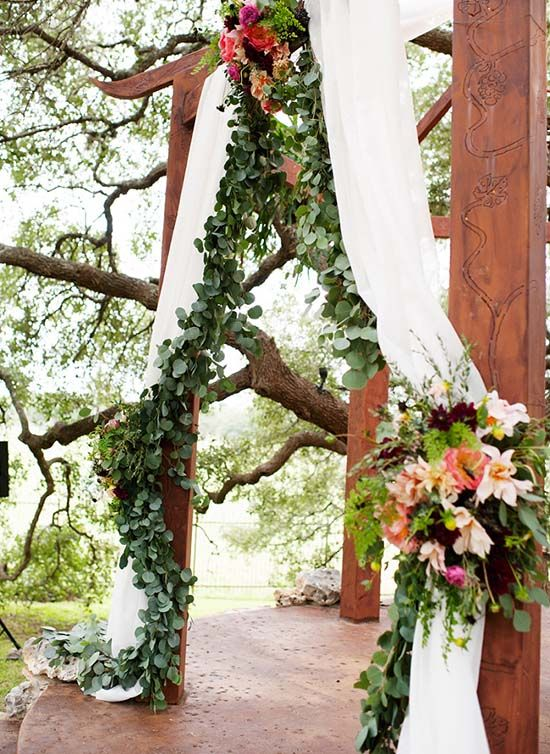 Top 10 Wedding Backdrop Ideas -  Go Green:  If you're not overly fond of flowers but love to be inspired by nature, use leaves instead. Lush greenery will add rich detail to your ceremony and blends in with many color palettes beautifully. Use eucalyptus or boxwood garlands to decorate your altar and aisle. Photo from Every Last Detail // Kristi Wright Photography.
