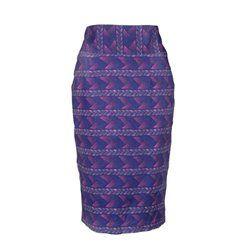 Jupe crayon taille haute en coton violet G - African Secret