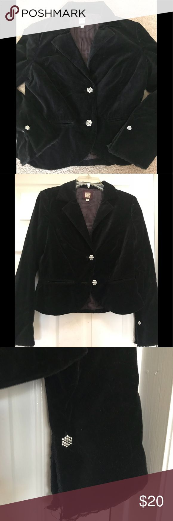 Old Navy Velvet Blazer Black blazer with rhinestone embellishments on buttons  SEE MATCHING SKIRT IN MY CLOSET AS WELL Old Navy Jackets & Coats Blazers