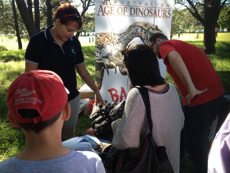 Holly showing Australian Age of Dinosaurs sauropod fossils at Centennial Parklands for the Walking with Dinosaurs DVD launch. #dinosaurs #fossils #medialaunch #fizzics #sydney #dvd