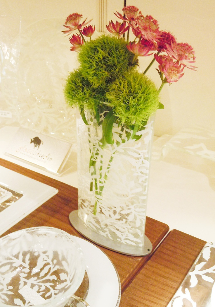 Flower vase with white pattern. Glass Studio