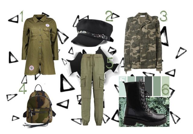 """February Crush: Army Clothing"" by thebearg on Polyvore featuring Nika, Bailey 44, GREEN, army and military"