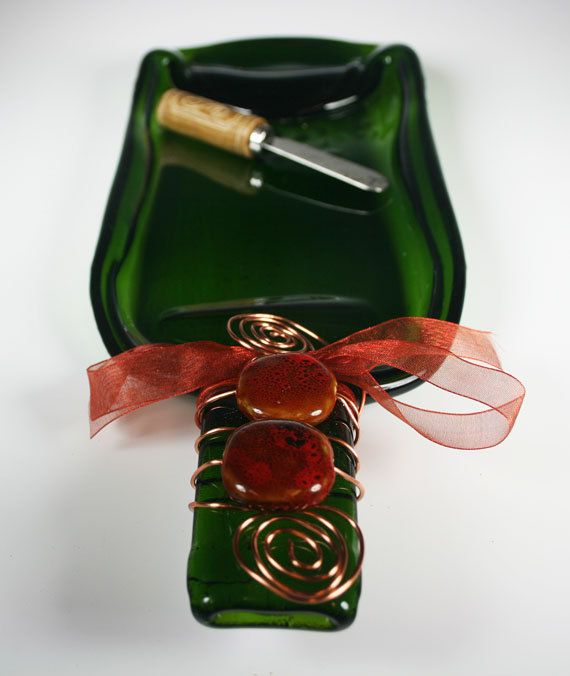 Recycled and Slumped Wine Bottle Cheese and by GibsonPottery, $24.00