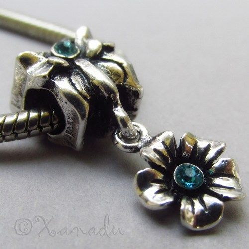 Butterfly Charm Bead With Dangling Flower For European Bracelets #xanadudesigns #pandora #charmbracelet #butterfly