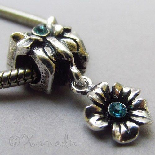 Butterfly Charm Bead With Dangling Flower For European Bracelets #xanadudesigns #pandora #charmbracelet #butterfly