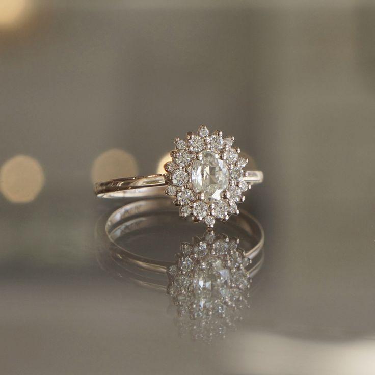 Sarah O. Rose Cut Diamond Halo engagement ring in 14k rose gold - Sarah O. Jewelry   Denver, CO