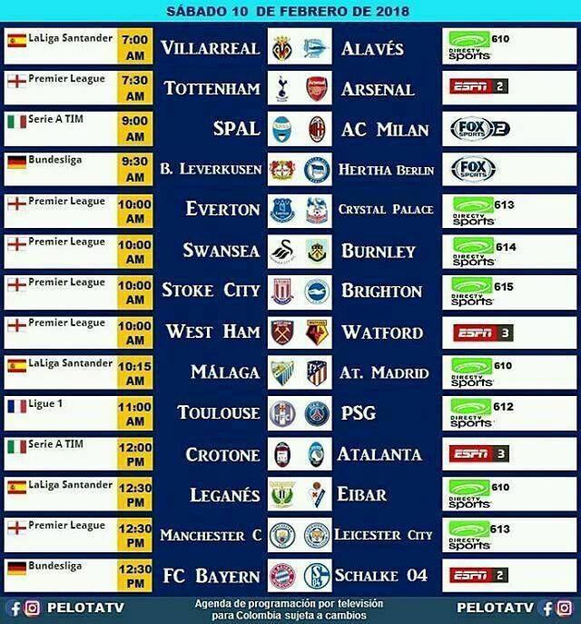 Agenda Futbolera Sábado 10 de Febrero #Televisión #EnVivo #Colombia #Partidos #Futbol #LigaAguila #futbolcolombiano #futbolcolombia #cervezaaguila : @pelotatv