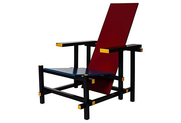 Gerrit Rietveld Style Red 1970s Cassina Diy Kit Chair In