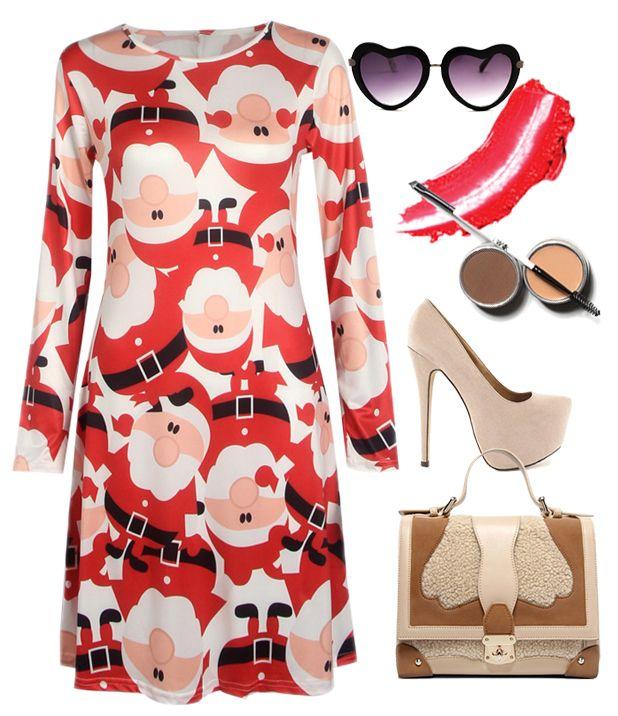 Christmas Santa Claus Pattern Round Neck A-line Dress