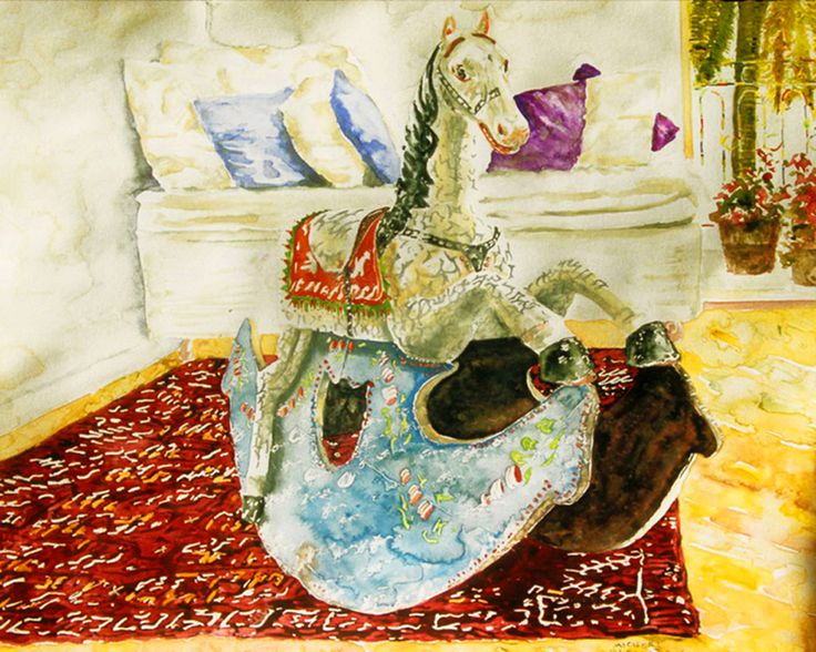 "rockinghorse (3)  19"" x 19.75""  micheal zarowsky / watercolour on arches paper / available $900.00"