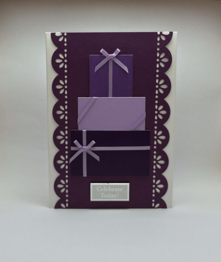 New to SarahLouCards on Etsy: Purple card Purple Presents Celebrate Today! Happy Birthday Handmade card Celebrations Wedding Birthday Lilac Purple Ribbons (2.69 GBP)