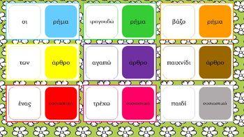 Το παιχνίδι αυτό φτιάχτηκε για να μάθουν τα παιδιά να ξεχωρίζουν τα μέρη του λόγου. Πιο συγκεκριμένα ξεχωρίζουν το άρθρο από το ουσιαστικό και το ρήμα. Κάθε κάρτα ντόμινο έχει μία πλευρά με μία από τις λέξεις άρθρο, ουσιαστικό, ρήμα. Στην άλλη πλευρά της κάρτας βρίσκεται ένα παράδειγμα ουσιαστικού, ρήματος ή άρθρου. Τα παιδιά θα πρέπει να ταιριάξουν σωστά τις λέξεις. Για παράδειγμα τη λέξη άρθρο με το οι κ.ο.κ. Περισσότερα στο http://anoixtestaxeis.weebly.com/