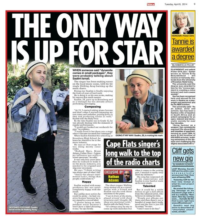 My interview with the Daily Voice - 8 April 2014  #media #music #entertainment #southafrica #capetown