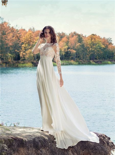 High-neck Chiffon Ruched White A-line Appliques Sweep Long Sleeves Bridal Wedding Dresses 1745