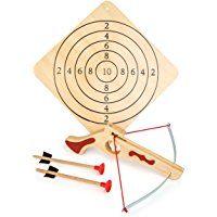 Hochwertige Sportarmbrust aus Holz inkl. Zielscheibe und zwei Pfeilen, Sportartikel / Schießspiel für Kinder und Erwachsene, ab 5 Jahre