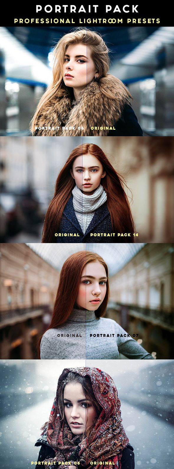 Portrait Pack 14 Professional Lightroom Presets is the pack of professional Lightroom Presets perfect for new and old photographers and graphic designers.