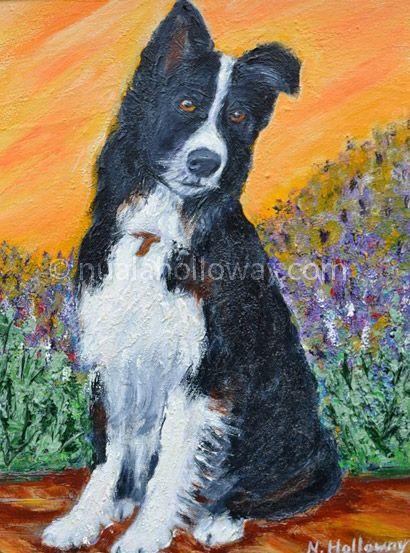 """""""Walkies?"""" by Nuala Holloway - Oil on Canvas #IrishArt #DogArt #Collie"""