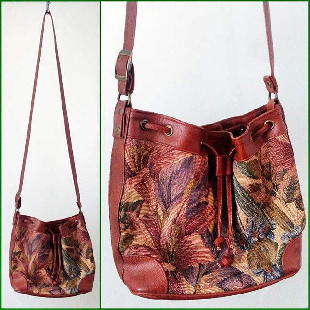 70s or 80s faux leather and tropical print bucket bag with adjustable strap by Rafy, made in Canada.  Looks unused.
